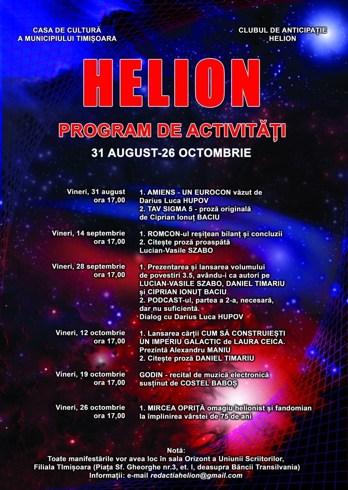 HELION - program de activități 31 august - 26 octombrie 2018